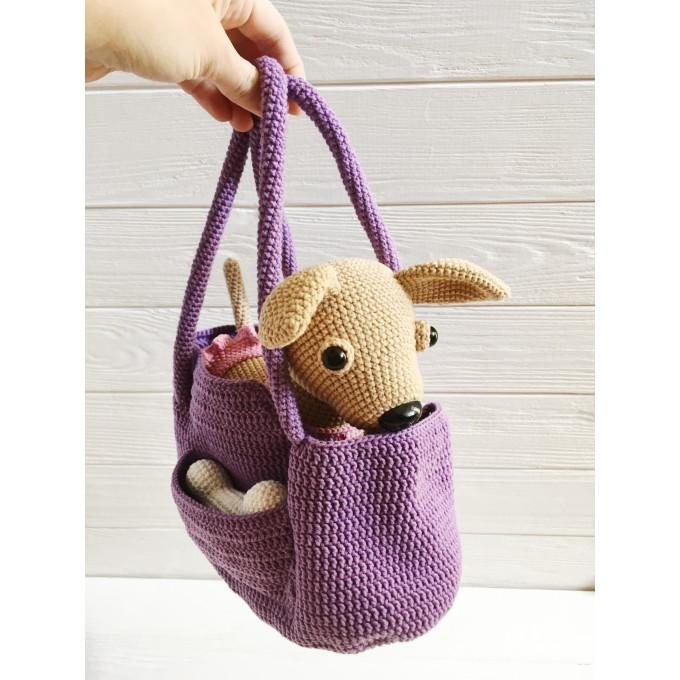 Amigurumi Chihuahua in a bag