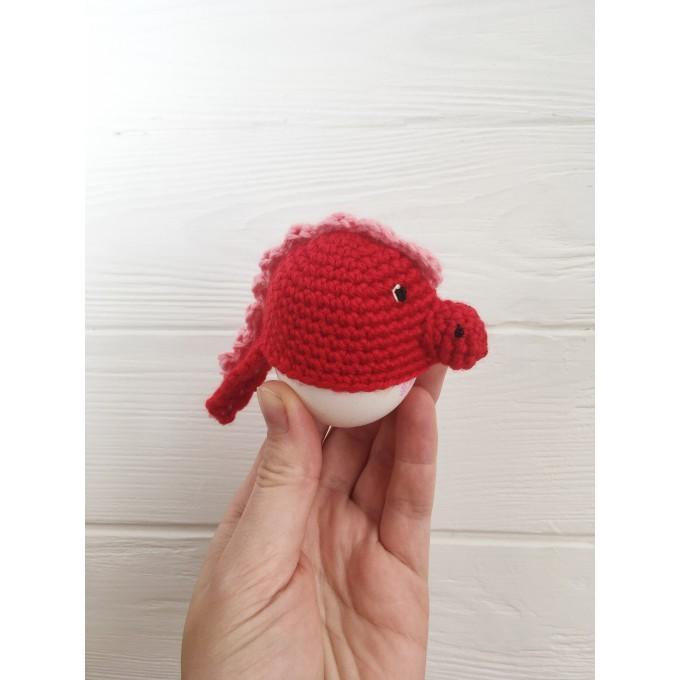 Set of crochet red dragons