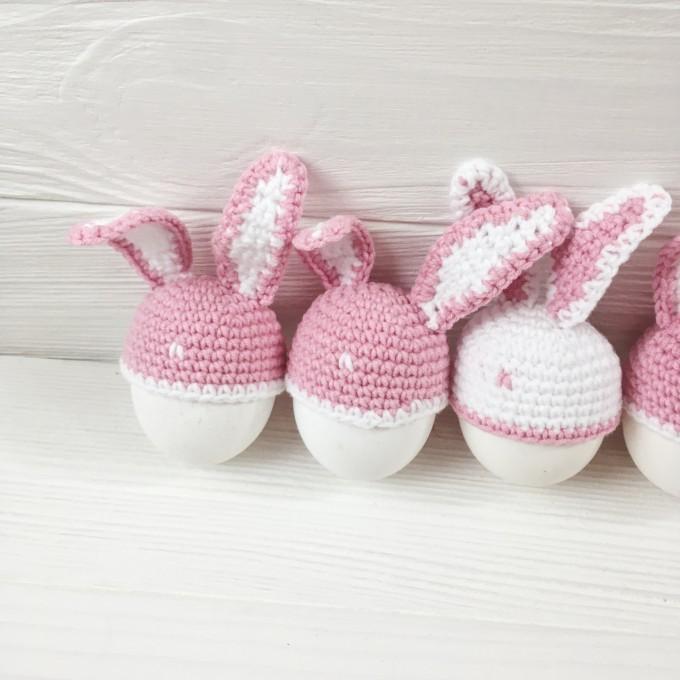 Set of crochet half bunnies