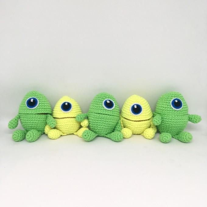 Set of crochet monsters