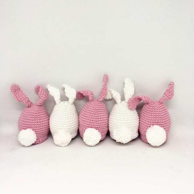 Set of 5 crocheted bunnies