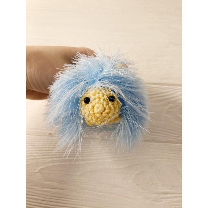 Amigurumi blue and yellow caterpillar