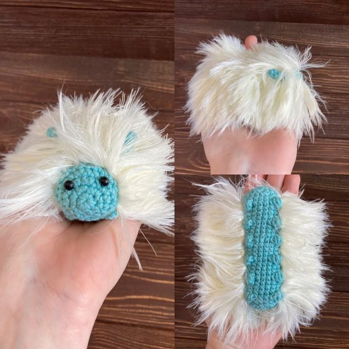 Amigurumi white and mint caterpillar