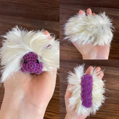 Amigurumi white and purple caterpillar