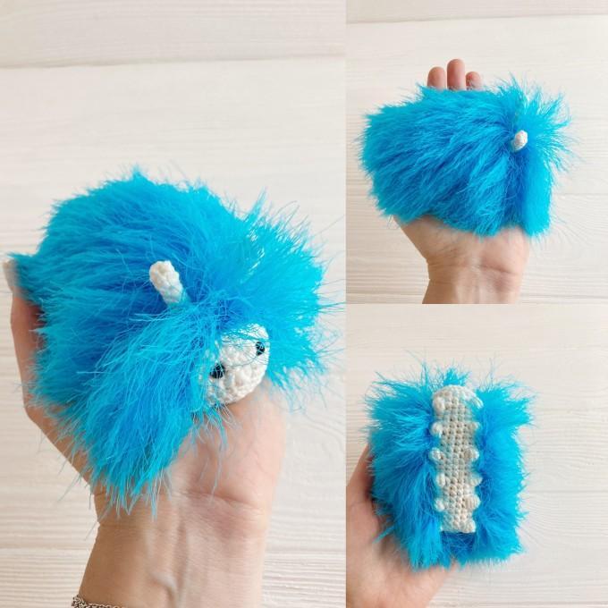 Amigurumi sky blue caterpillar