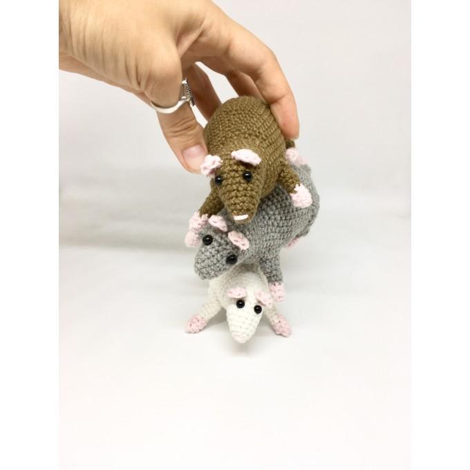 Set of 3 amigurumi rats