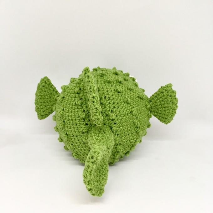Amigurumi green puffer fish