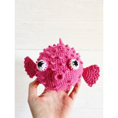 Amigurumi pink puffer fish