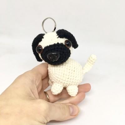 Amigurumi pug dog keychain