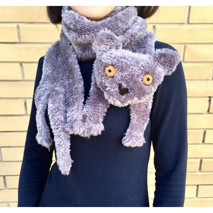 Grey cat scarf