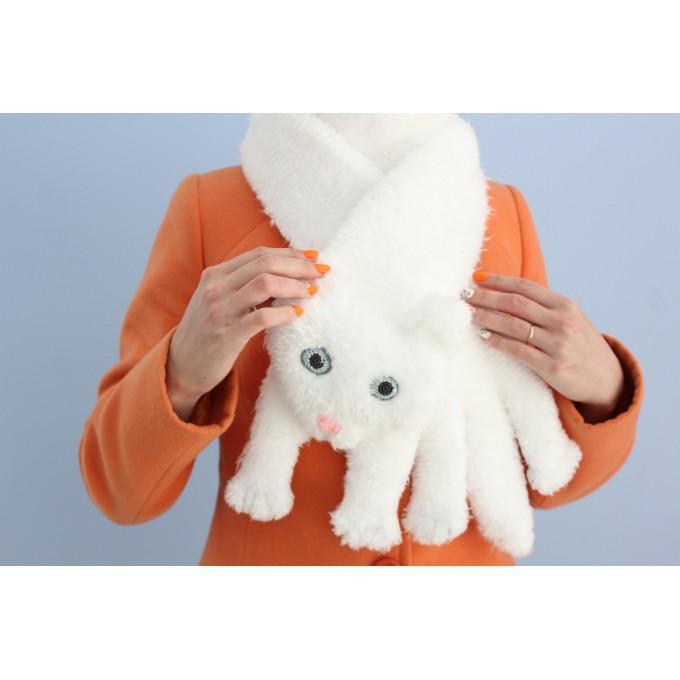 White cat scarf