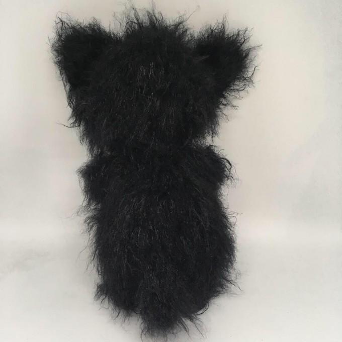 Amigurumi black fluffy fat cat
